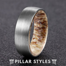 Mens Wedding Band Deer Antler Rings - Silver Tungsten Ring Unique Mens Ring