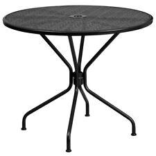 35.25'' Round Indoor-Outdoor Restaurant Patio Table in Black Steel Metal
