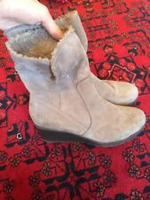 WOMENS SENSITIVE SOLE FAUX SUEDE ABOVE ANKLE BOOTS UK 6 FUR LINED SHOES
