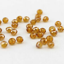 Wholesale 100 Beads Amber AB Crystal Glass Gemstone Loose Beads 6X4mm