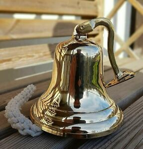 BRASS WALL BELL VINTAGE SHIP's SCHOOL PUB LAST ORDERS DINNER DOOR 4'' - AU STOCK