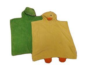 2 X Toddler / small Kids Poncho Hooded Towel Duck & Crocodile Fun Animal...