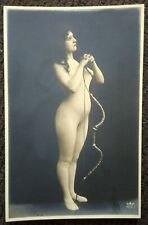 FRENCH NUDE NAKED WITH FLOWERS ORIGINAL 1910S REAL PHOTO POSTCARD  VERY RARE