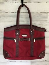 JESSICA SIMPSON SHOPPER TOTE HANDBAG BURGUNDY XL CANVAS PURSE FAUX LEAHTER TRIM