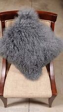 "Handmade Mongolian Fur 18""x18"" Square Gray Pillow suede fabric back US stock"