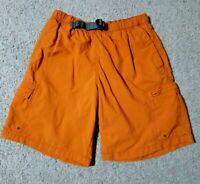 Columbia Mens Small Orange Belted Mesh Lined Hiking Swimming Shorts Size Small