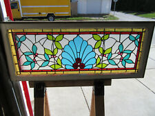 ANTIQUE STAINED GLASS TRANSOM WINDOW 15 JEWELS ~ 48 x 20 ~ARCHITECTURAL SALVAGE