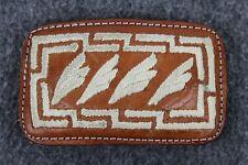 Vintage Brown Leather Stitched Native Feather Design Western Cowboy Belt Buckle