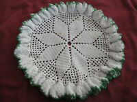 """Vintage 10"""" Crochet Ruffled Round Doily White with Green Edging"""