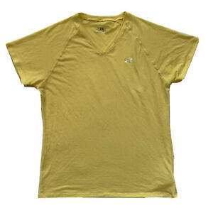 Under Armour Women Small Semi Fitted Short Sleeve Cotton T Shirt Top Yellow