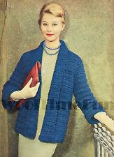 Vintage Crochet Pattern Lady's 1950s Short Coat/Jacket. Quick & Easy to Make.