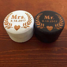 Rustic Wedding Ring Box Set, Personalized Wood Ring Bearer Pillow Box 2pcs/set