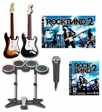 PS3 2x Rock Band 2 GUITARS + Drums + Game + Mic Special Edition Bundle Kit Set