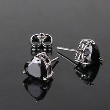 18ct white gold filled Onyx Black Heart stud earrings crystal gift Love earring