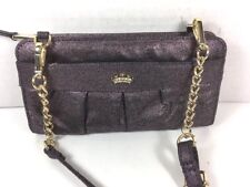 Juicy Couture Small Metallic Purple Fabric Wallet Crossbody Shoulder Bag