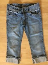 Billbong Fitted Low Rise Size 5 Cropped Distressed Jeans Inseam 20""