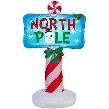 CHRISTMAS SANTA NORTH POLE SIGN  AIRBLOWN INFLATABLE YARD DECORATION 3.5 FT