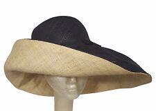 Abagbe: Authentic Hand Made Black and Natural Madagascar Big Brim Raffia Sun Hat