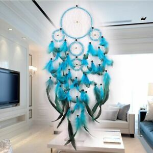 Large Dream Catcher Blue Wall Hanging Decoration Ornament Handmade Feather Craft