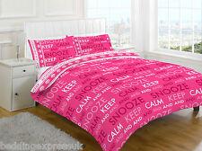 Single Bed Pink Keep Calm Duvet Quilt Cover Bedding Set Pillowcase