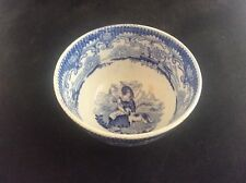 Early c19th Blue White Transfer Printed Ware Tea or Slop Bowl Woman stroking Dog