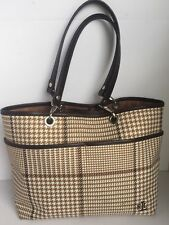 df0d69e3fa Ralph Lauren Houndstooth Medium Shoulder Handbag Brown Beige Cream Color