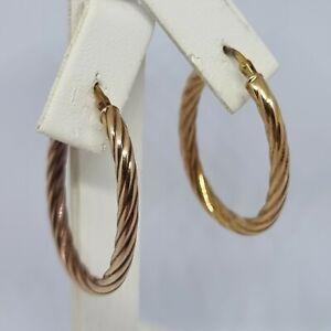 9ct Yellow Gold Oval Twist Hoop Earrings Hallmarked