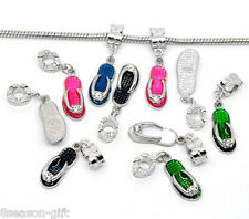 50Mixed Enamel Slippers Dangle Beads Fit Charm Bracelet