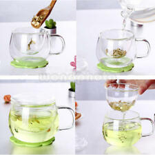 1Set Crystal Glass Milk Tea Mug Coffee Cup with Tea Infuser Filter&Lid New