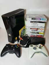 Xbox 360S Slim Console 250GB HDD w/ 2 Controllers  + 15 Games WORKING