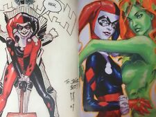 Stephane Roux Sketchbook French Con Framed Sexy Wonder Woman Harley Quinn & Ivy