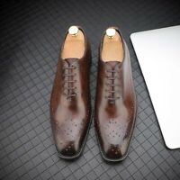 Brogue Fashion Men Formal Shoes Round Toe Dress Leather Wing Tip Oxfords Lace Up
