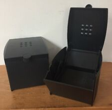 Pair 2 Vintage Elecom Black Plastic Top Load Floppy Disk Storage Box Containers