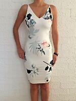 Women Sleeveless Bodycon Floral White Eve Cocktail Midi Dress Size 8-10-12-14