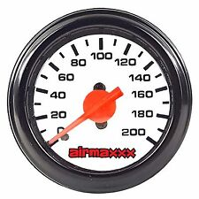 "Air Gauge Single Needle 200 psi Air Ride Suspension System 2"" White Face LED"