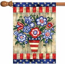 Toland Home Garden Sleeved House Flag 28 x 40 Patriotic Flowers Planter Stars