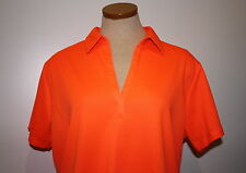 Woman's Port Authority Bright Neon Orange Short Sleeve Polo Shirt Polyester XXL
