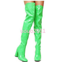 Womens Block High Heel Patent Leather Over The Knee Thigh High Boots Vogue Shoes