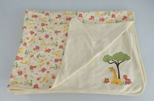 Vintage Gymboree 2008 Jungle Safari Baby Girl Blanket Giraffe Tree Flower Cream