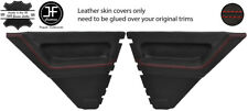 RED STITCH 2X REAR DOOR CARD LEATHER COVERS FOR RENAULT 5 CAMPUS 3 DOOR