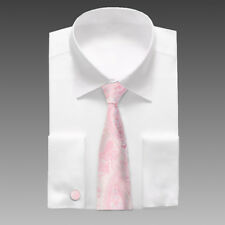 A8020 Pink Paisley Christmas Gift Silk Mens Xmas Presents Tie Cufflinks Set Y&G