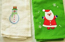Lot of 2 holiday hand towels white snowman green santa brand new perfect gifts