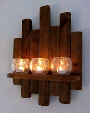 34CM RECLAIMED RUSTIC WOOD FLOATING SHELF WITH CRACKLE GLASS TEA LIGHT HOLDERS