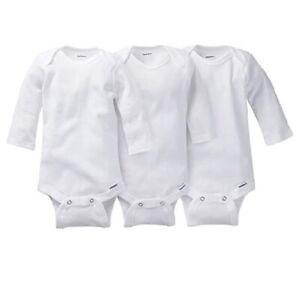 Gerber Baby Unisex 3-Pack Organic Cotton Long Sleeve Onesies Size 18M