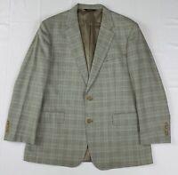 southwick wool gray beige blue glen plaid 2btn sport coat jacket sz 44 r