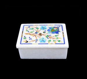"4""x3""x2"" Adornment Marble Jewelry Box Handmade Mosaic Inlay Art Gift Decor H5479"