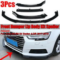 Para Audi A4 B9 S4 Sedan 2017 2018 3PCs Negro Brillante Parachoques Frontal Lip