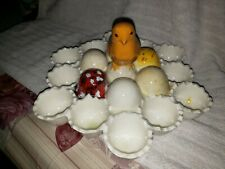 Vintage Porcelain Decorative Easter Egg Holder w/ Baby Chick Handle very rare.