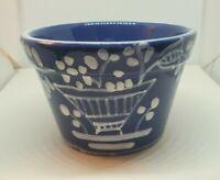 Vintage GL Italian Ceramic Pot Hand Painted Small Planter Blue Garden Pot