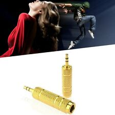"Gold Headphone Adaptor Stereo 3.5mm Stereo Socket To 6.5mm Jack Plug 1/4"" - 1/8"""